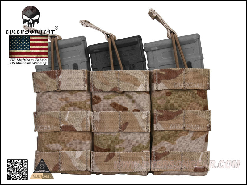 Emerson Modular Triple Open Top Magazine Pouch - Multicam Arid